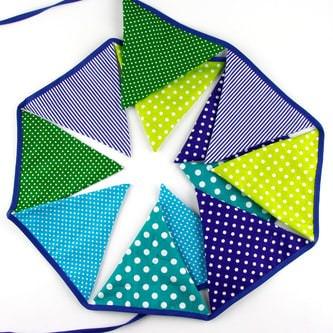 Wimpel Girlande Wimpelkette Banner Vintage - grün-blau