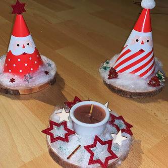 18 Holz Tannen Bäume Holzdeko Weihnachtsdeko Tischdeko Weihnachten - weinrot