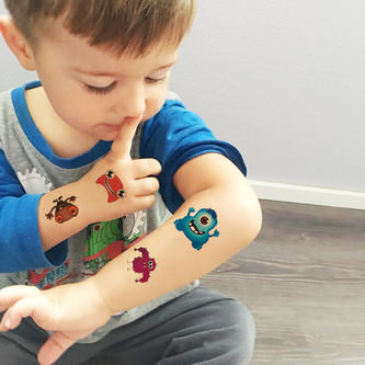 Temporäre Klebetattoos Kinder Tattoo Set - 24 Monster Motive
