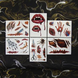 Temporäre Tattoos Horror Halloween Klebetattoos Wunden Mund - 4 Motive