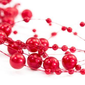 Perlenschnur Perlen Girlande Tisch Deko Hochzeit Feier Jubiläum - rot