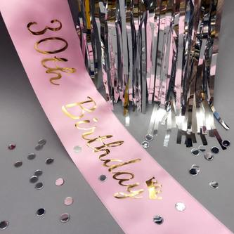 Schärpe 30th Birthday 30. Geburtstag 30er Party Feier Jubiläum rosa
