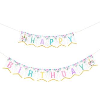 Happy Birthday Einhorn Girlande Banner 2m Geburtstag Party Deko - bunt
