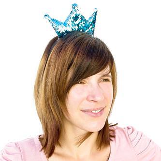 Haarreifen mit Krone Glitzer Pailletten Fasching Karneval Party türkis