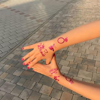 Temporäre Klebetattoos Tattoo Set Junggesellinnenabschied JGA pink