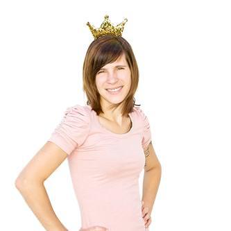 Haarreifen mit Krone Glitzer Pailletten Fasching Karneval Party gold