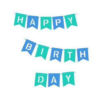 Happy Birthday Girlande Banner aus Filz Geburtstag Party - blau türkis