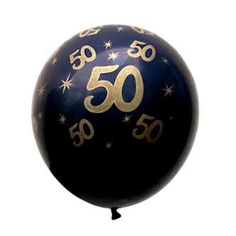 10x Luftballons Zahl 50 Geburtstag Jubiläum Ballons - schwarz gold