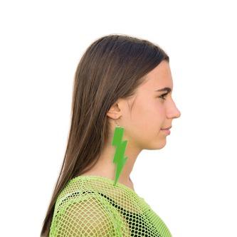 Blitz Ohrringe für 80s 80er Jahre Motto Party Fasching Karneval Kostüm Damen Ohrstecker - neon grün
