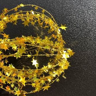 Folien Girlande Stern Lametta Hängedeko Tisch Deko Geburtstag Weihnachten Silvester Party - gold