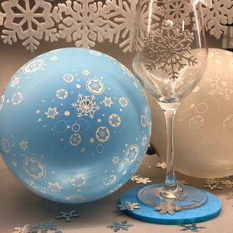 Luftballon Set 20 Stk Schneeflocken Winter Weihnachtsdeko blau grau