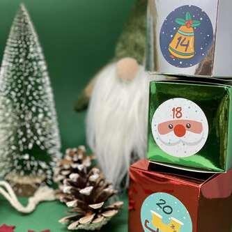 8 Pappschachteln für DIY Adventskalender Advent Kisten Boxen - rot