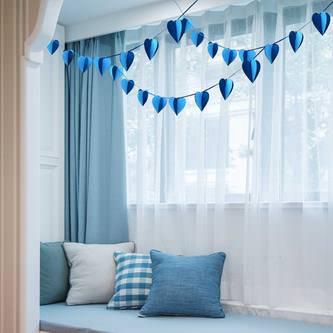 Herz Girlande 3D Liebe Deko Hochzeit - hellblau dunkelblau