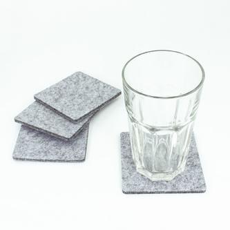4 Filz Untersetzer Getränke Glas Untersetzer quadratisch - weißgrau