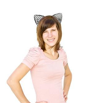 Haarreifen Katzenohren Glitzer Katzenkostüm Fasching Karneval Party