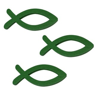 18 Holz Fische Streudeko Taufe Kommunion Konfirmation - Echtholz grün