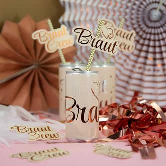 Strohhalme Trinkhalme Geburtstag Party Hochzeit JGA Deko - gold weiß
