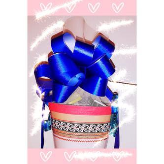 Geschenkschleife mit Geschenkband Groß Deko Schleifen - blau weiß