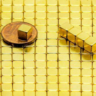 Neodym Magnet Würfelmagnet N38 5x5x5 mm Gold