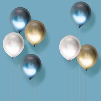 Luftballon Set 7 Stk. Geburtstag Party Hochzeit JGA Ballons Metallic bunt