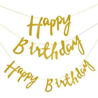 Happy Birthday Girlande Banner Geburtstag Party Feier Deko - gold