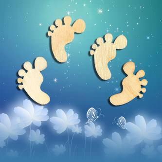 100 Füßchen Konfetti Baby Shower Schwangerschaft Echtholz Deko