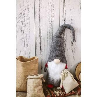 Weihnachtsmann Winterlicher Zwerg Gnom Tischdeko Weihnachtsdeko - grau