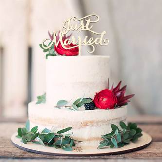 Torten Kuchen Topper Aufsatz Just Married Holz Deko für Hochzeit JGA Dekoration