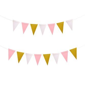 Wimpel Girlande Banner 3m Wimpelkette Feier Party Deko - weiß rosé gold