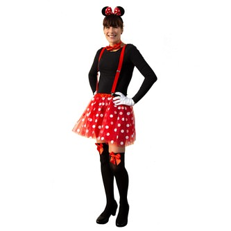 Haarreif Haarreifen Maus Mouse Ohren Schleife Fasching Karneval - rot