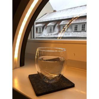 4 Filz Untersetzer Getränke Glas Untersetzer quadratisch - schwarz