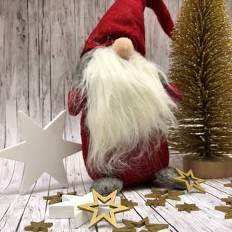 Weihnachtsmann Winterlicher Zwerg Gnom Tischdeko Weihnachtsdeko - rot