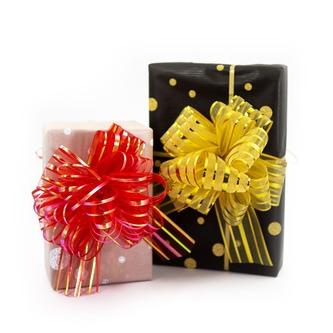 Geschenkschleife mit Geschenkband Groß Deko Schleife - gold