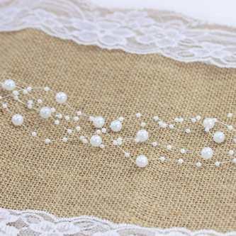 Perlenschnur Perlen Girlande Tisch Deko Hochzeit Feier Jubiläum - weiß