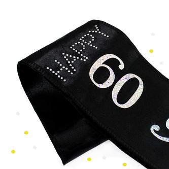Schärpe Happy Birthday 60. Geburtstag 60er Party Feier schwarz