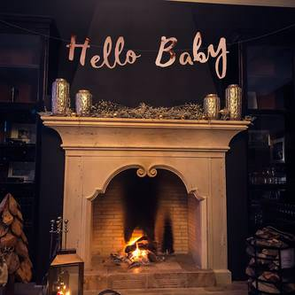 Hello Baby Girlande Banner für Baby Shower Baby Party Deko - roségold