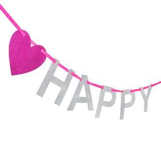 Happy 18 Girlande Banner Geburtstag Birthday Party - silber pink