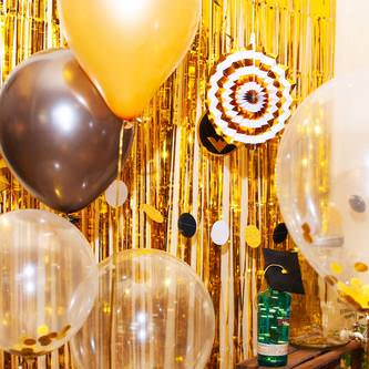 Lametta Vorhang Dekoration Party Feier Fasching Karneval - gold