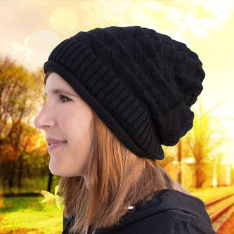 Long Beanie Mütze XXL Damen Herren Kinder Winter Mützen - black