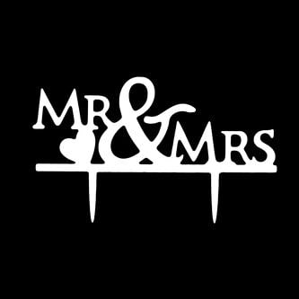 Hochzeitstorten Topper Mr & Mrs Kuchendeckel Hochzeit - weiß