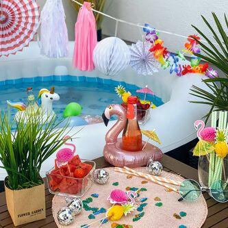 5x Schwimmender Einhorn Getränkehalter aufblasbar Pool Badespielzeug