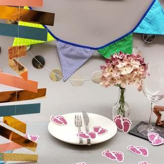 Kreis Girlande Banner Geburtstag JGA Hochzeit Party Deko - silber