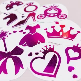 Temporäre Klebetattoos Tattoo Set Prinzessin mit Glitzereffekt JGA pink