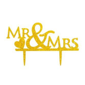 Hochzeitstorten Topper Mr & Mrs Kuchendeckel Hochzeit - gold