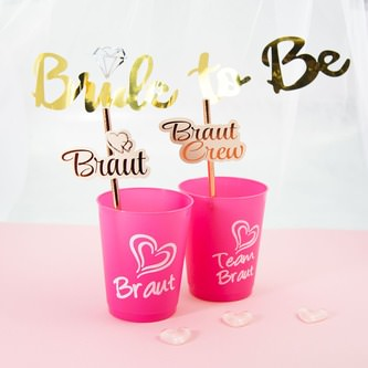 Braut + Team Braut JGA Trinkbecher Set Partybecher Hochzeit pink weiß