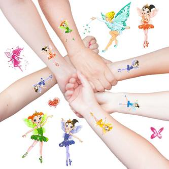 Feen Elfen Ballerina Engel Tattoo Set mit Glitzereffekt Kinder Tattoos