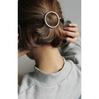 Metall Haarklammer Rund Damen Frauen Mädchen Haarspange - silber