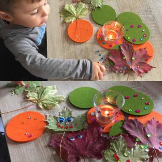 4 Filz Untersetzer Glasuntersetzer rund - orange