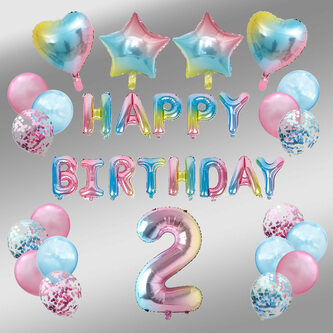 2. geburtstag party deko set - happy birthday  zahl 2 ballon  konfetti luftballons  herzen uvm.