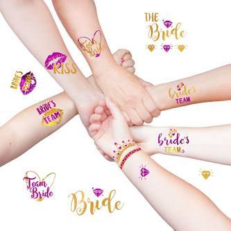 Temporäre Klebetattoos Tattoo Junggesellinnenabschied JGA pink gold
